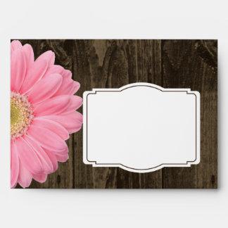 Rustic Wood Pink Gerber Daisy Custom Envelopes
