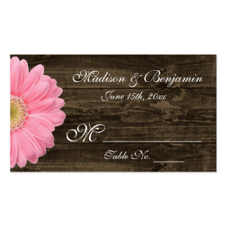 Rustic Wood Pink Gerber Daisy Wedding Place Cards