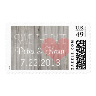 Rustic Wood Pink & Gray Heart Customizable Postage
