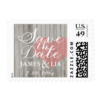 Rustic Wood Pink & Gray Heart Save the Date Stamp