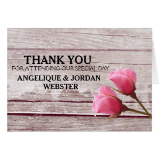 Rustic Wood Pink Rosebud Wedding Thank You Cards