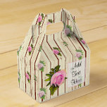 Rustic Wood Pink Roses Striped Floral Favor Box