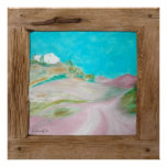 Rustic wood pink turquoise landscape poster print