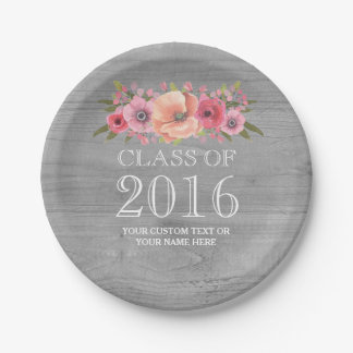 Rustic Wood Pink Watercolor Floral Graduation 2016 Paper Plate