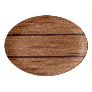 rustic wood planks 15216b porcelain serving platter
