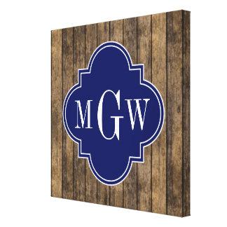 Rustic Wood Planks #1 Navy Quatrefoil 3 Monogram Canvas Print