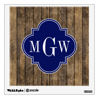 Rustic Wood Planks #1 Navy Quatrefoil 3 Monogram Wall Skin