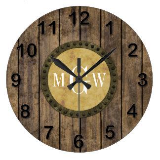 Rustic Wood Planks #1 Steampunk 3 Monogram Clocks