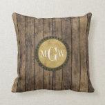 Rustic Wood Planks #1 Steampunk 3 Monogram Pillow