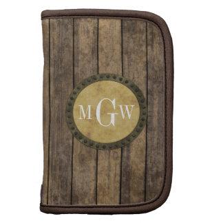Rustic Wood Planks #1 Steampunk 3 Monogram Organizer