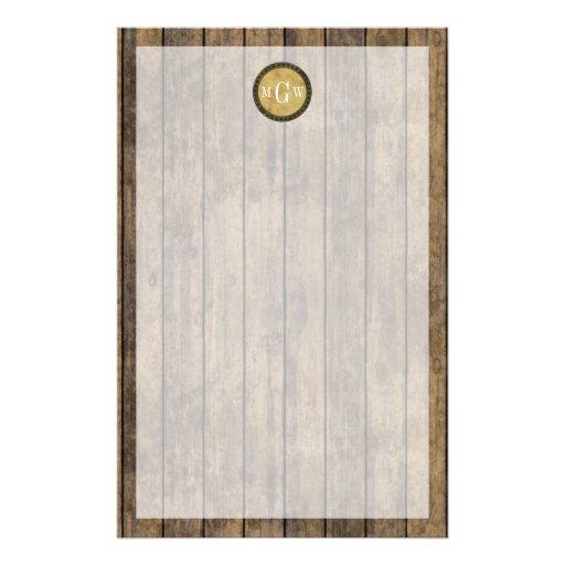 Rustic Wood Planks #1 Steampunk 3 Monogram Custom Stationery
