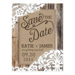 Rustic Wood Planks and Lace Save the Date Postcard