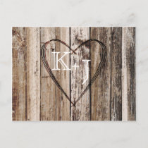Rustic Wood Planks Heart Etching Save the Date Announcement Postcard