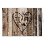Rustic Wood Planks Heart Etching Thank You Card