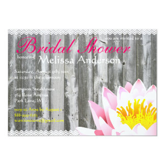 Rustic Wood Planks & Lotus Flower Bridal Shower 5x7 Paper Invitation Card