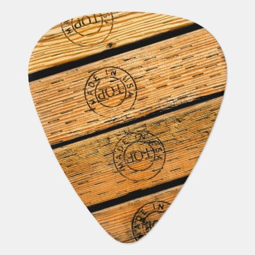 """USA Themed Rustic Wood Planks Stamped with """"Made in USA"""" Guitar Pick"""