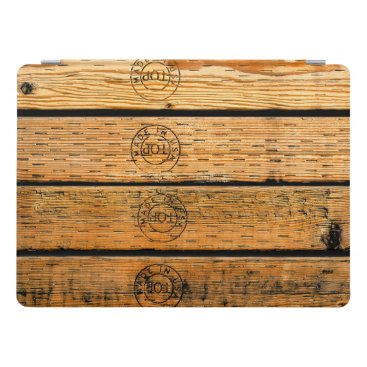 """USA Themed Rustic Wood Planks Stamped with """"Made in USA"""" iPad Pro Cover"""