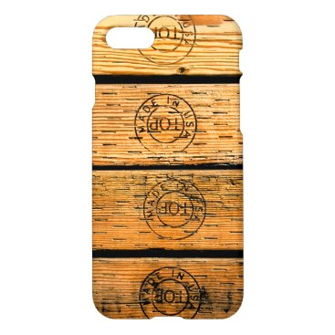 """USA Themed Rustic Wood Planks Stamped with """"Made in USA"""" iPhone 8/7 Case"""