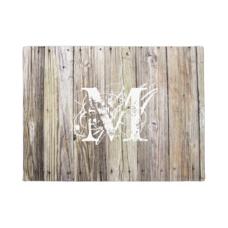 Rustic Wood Planks with Shabby Chic Monogram Doormat