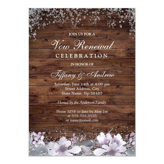 Rustic Wood Purple Floral Vow Renewal Invite Zazzle Com