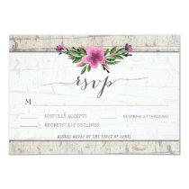 Rustic Wood Purple Flower Wedding RSVP Card