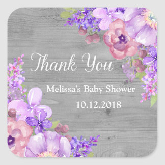 Rustic Wood Purple Flowers Baby Shower Thank You Square Sticker