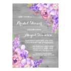 Rustic Wood Purple Flowers Bridal Shower Card