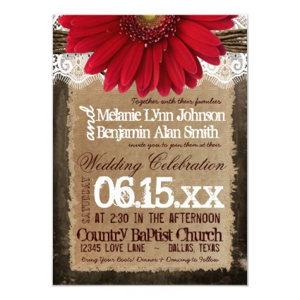 "Rustic Wood Red Daisy Country Wedding Invitations 4.5"" X 6.25"" Invitation Card"