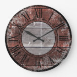 Rustic Wood (Red) Large Clock