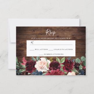Rustic Wood Red Wine Burgundy Wedding RSVP Card