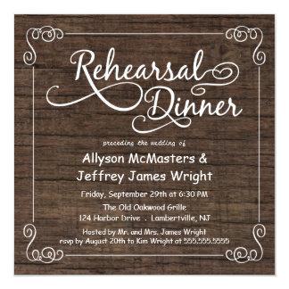 "Rustic Wood Rehearsal Dinner Invitations 5.25"" Square Invitation Card"