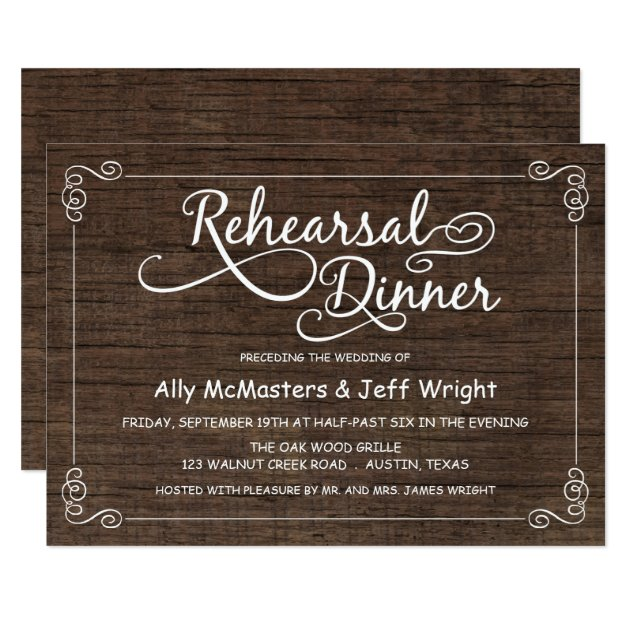 wedding ideas with kids rustic wood rehearsal dinner invitations zazzle 28359