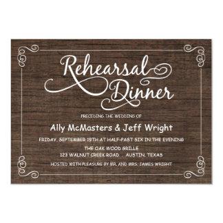Rustic Wood Rehearsal Dinner Invitations