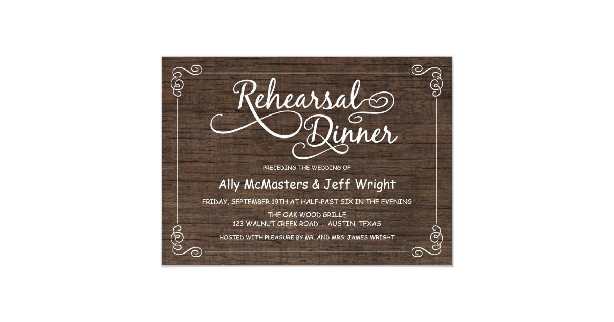 Rustic Wood Rehearsal Dinner Invitations Zazzle Com
