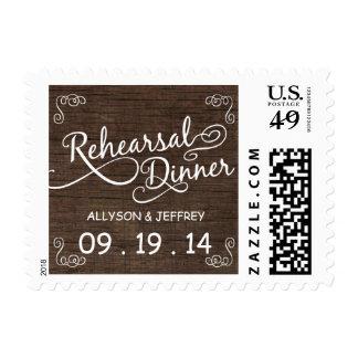 Rustic Wood Rehearsal Dinner  Postage