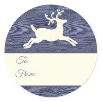 Rustic Wood Reindeer Blue Christmas Gift Tags