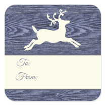 Rustic Wood Reindeer Blue Holiday Gift Tags