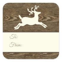 Rustic Wood Reindeer Brown Christmas Gift Tags
