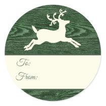 Rustic Wood Reindeer Green Christmas Gift Tags