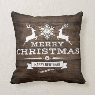 Rustic Wood Reindeer Merry Christmas Decor Throw Pillow