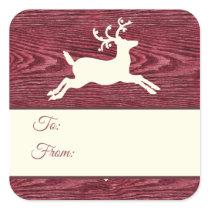 Rustic Wood Reindeer Red Christmas Gift Tags