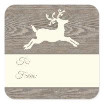 Rustic Wood Reindeer Tan Christmas Gift Tags
