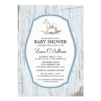 Rustic Wood Rocking Horse Baby Shower Personalized Invitation