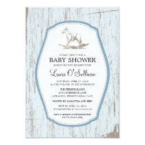 Rustic Wood Rocking Horse Baby Shower Invitation