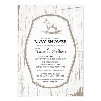 Rustic Wood Rocking Horse Baby Shower Personalized Announcement