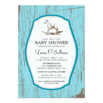 Rustic Wood Rocking Horse Baby Shower Invitation