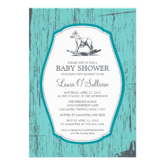 Rustic Wood Rocking Horse Baby Shower Personalized Invites