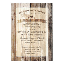Rustic Wood Rooster Weather Vane Wedding Invitation