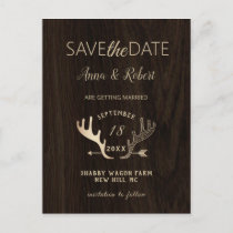 Rustic Wood Rose Gold Antlers Arrow Save The Date Invitation Postcard