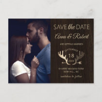 Rustic Wood Rose Gold Antlers Photo Save The Date Invitation Postcard